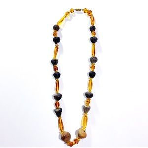 Vintage Tribal Amber colored necklace wooden Beads